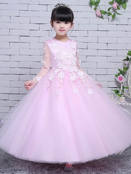 Ericdress Appliques Long Sleeves Flower Girl Party Dress