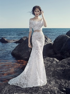 Ericdress Sexy Lace Bateau Mermaid 2 Pieces Wedding Dress