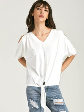 Ericdress V-Neck Tie White T-Shirt