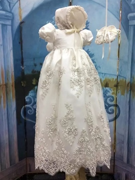 Ericdress Beading Appliques Baby Girls Christening Gown with Bonnet