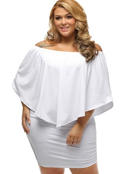 Ericdress Plain Batwing Sleeve Plus Size Bodycon Dress