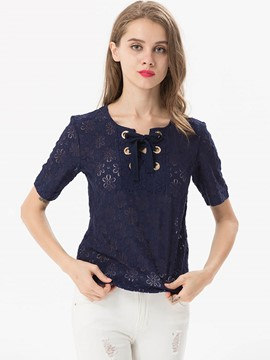 Ericdress Lace-Up Floral Crochet T-Shirt
