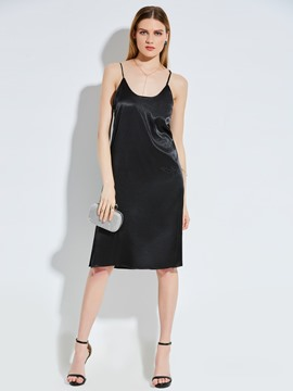 Spaghetti Strap Plain Women's Day Dress