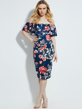 Ericdress Slash Neck Floral Print Mid-Calf Bodycon Dress