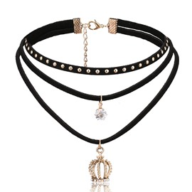 Ericdress Crown Pendant Multilayer Choker Necklace