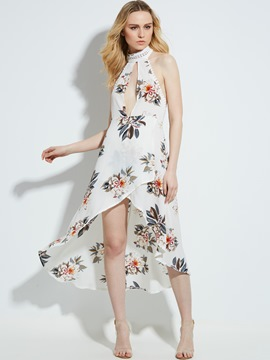 Ericdress Halter Floral Embroidery Asymmetrical Maxi Dress