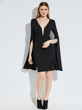 Ericdress Deep V-Neck Bell Sleeve Bodycon Dress