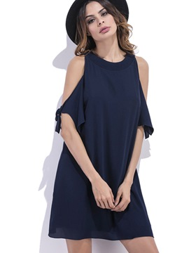 Ericdress Plain Off-the-ShoulderSummer A Line Dress