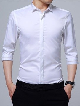 Ericdress Plain Hidden Button Embroidery Slim Men's Shirt