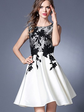 Ericdress Color Block Top EmbroideryBall Gown A Line Dress