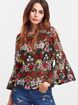 Ericdress Floral Embroidery See Through Blouse