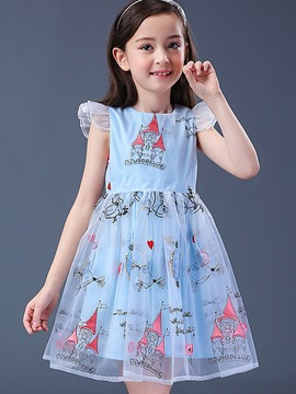 Ericdoress Printed Ruffles Mesh Girls Day Dress