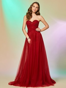 Ericdress A Line Sweetheart Pleats Long Evening Dress