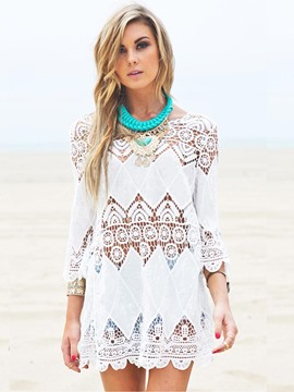 Ericdress Hollow Crochet Applique Beaach Cover Ups