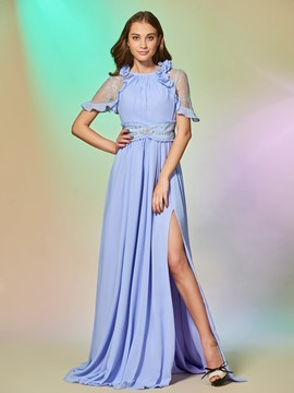 Ericdress A Line Short Sleeve Side Slit Long Prom Dress