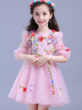 Ericdress Floral Appliques 3/4 Sleeve Mesh Princess Girls Dress