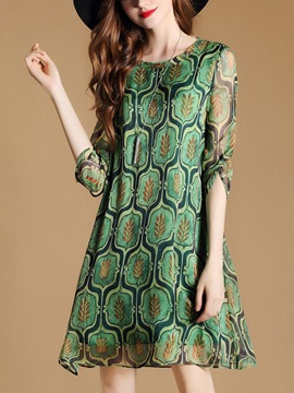 Ericdress Geometric See-Through 3/4 Sleeve Casual Dress