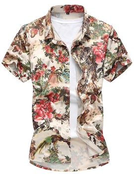 Ericdress Floral Short Sleeve Vogue Casual Men's Shirt