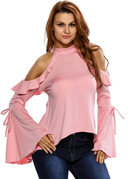 Ericdress Cold Shoulder Bell Sleeve T-Shirt