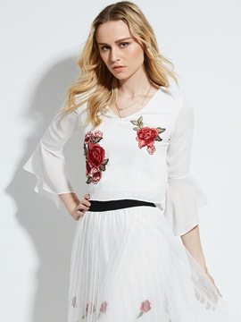 Ericdress Slim V-Neck Floral Embroidery Flare Sleeve Blouse
