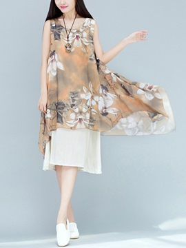 Ericdress Mori Girl Floral Double-Layer Chiffon Casual Dress