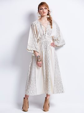 Bohoartist High-Waist V-Neck Batwing Sleeve Women's Maxi Dress