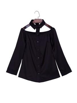 Ericdress Lapel Off Shoulder Blouse