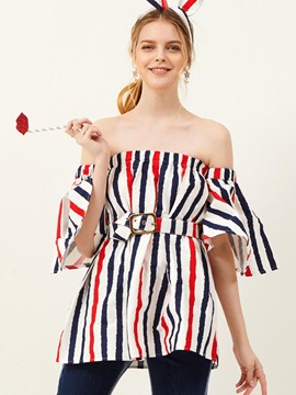 Ericdress Off Shoulder Belt Striped Blouse