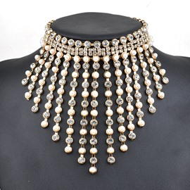 Ericdress Unique Diamante Pearl Necklace for Party