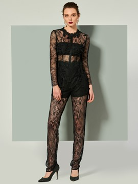 Ericdress Sheath Long Sleeve Scoop Neck Lace Jumpsuits