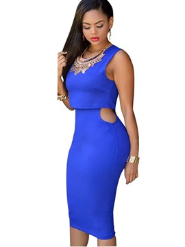 Ericdress plain scoop mittlere hohle doppelschichtige bodycon kleid
