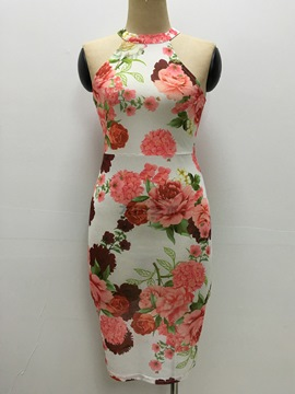 Ericdress Pastoral Colored Floral Halter Bodycon Dress