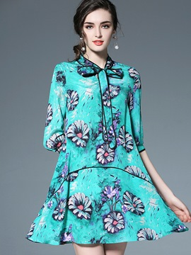 Ericdress Refresh Floral Bowknot 3/4 Length Sleeves Casual Dress