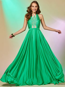 Ericdress ein line halter applique backless prom dress