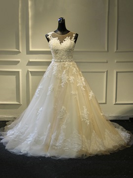 Ericdress A-Line Sleeveless Beading Lace Wedding Dress with Train