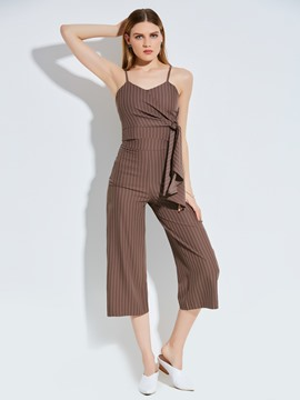 Ericdress Stripe Mid-Calf Wide Legs Women's Pants Two Piece Set