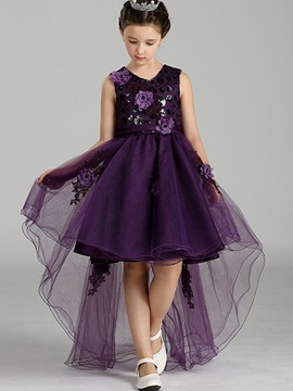 Ericdoress Asymmetrical 3D Flower Appliques Girls Dress