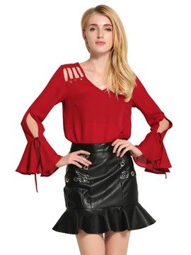 Ericdress Cut-Out Bell Sleeve Blouse