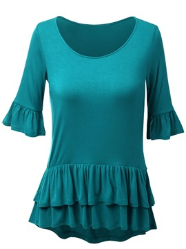 Ericdress Solid Color Frill T-Shirt