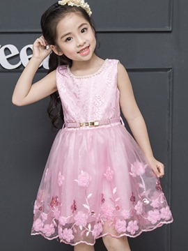 Ericdress Embroidery Bead Sleeveless with Belt Princess Girls Dress