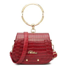 Ericdress Trendy Croco-Embossed Saddle Handbag