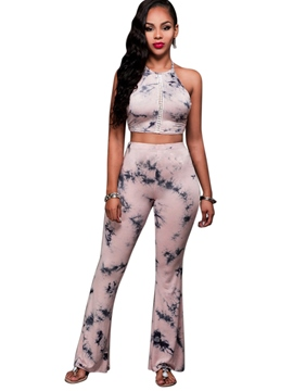 Ericdress Sleeveless Flower Print Women's Pants Suit