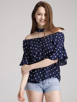 Ericdress Pocker Dots Chiffon Blouse