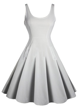 Ericdress Scoop Backless Expansion A Line Dress