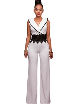 Ericdress V-Neck Sleeveless Pure Color Women's Jumpsuits