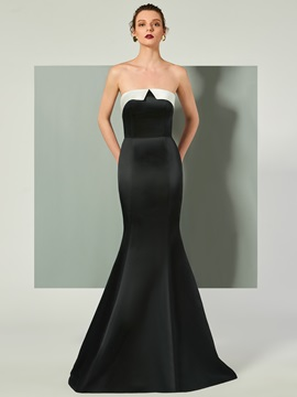 Ericdress Strapless Zipper-Up Floor Length Mermaid Evening Dress
