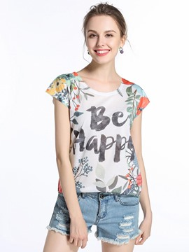 Ericdress Blumendruck-Slogan-T-Shirt