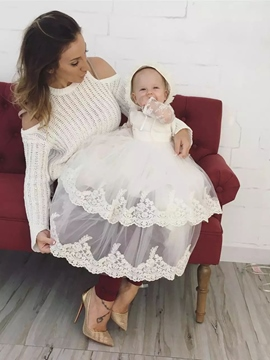 Ericdress Infant Baby Girls Lace Edge Tulle Christening Gown with Bonnet