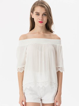 Ericdress Off-Shoulder Lace Crochet Blouse