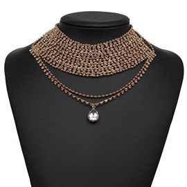 Ericdress Popular Hollow Out Alloy Diamante Pendant Necklace